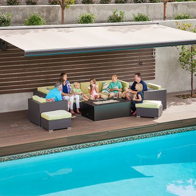 poolside family under awning