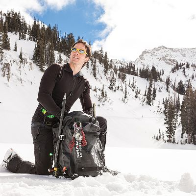 hiking bag in snow
